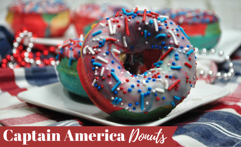 Captain America Donuts with red, white and blue sprinkles on a plate