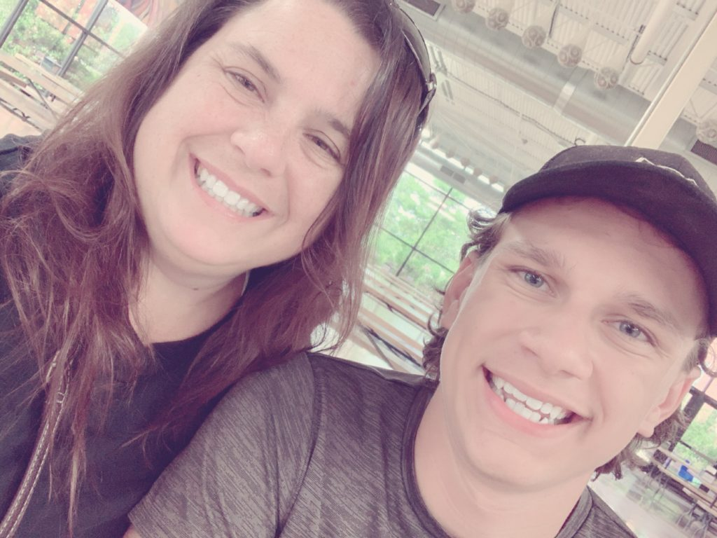 Matthew and Becky in dark shirts and hanging out - Getting Started Peanut Allergy Mom Beginner's Guide