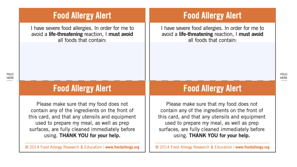 FARE - Food Allergy Chef Card