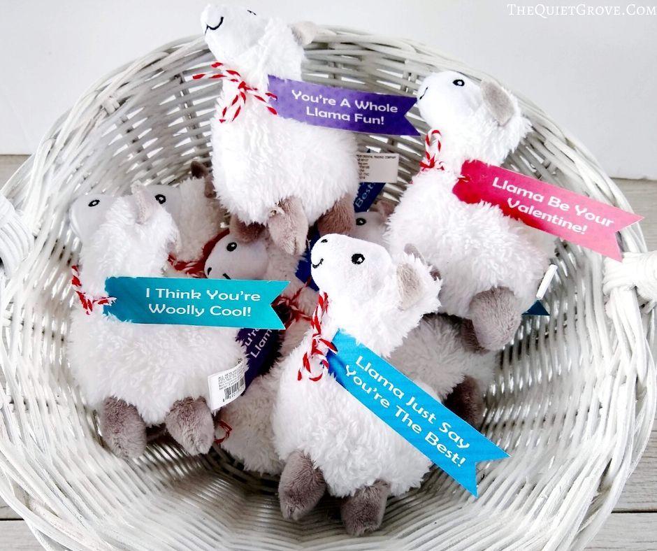 Non-Candy Classroom Valentine - Free Printable Llama Valentine Tags