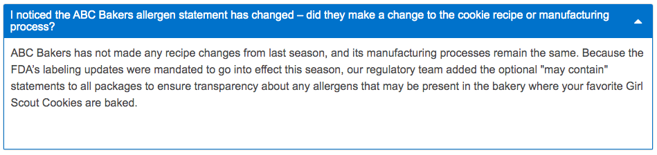 ABC Bakers Girl Scout Cookies Allergen Statement - FAQs
