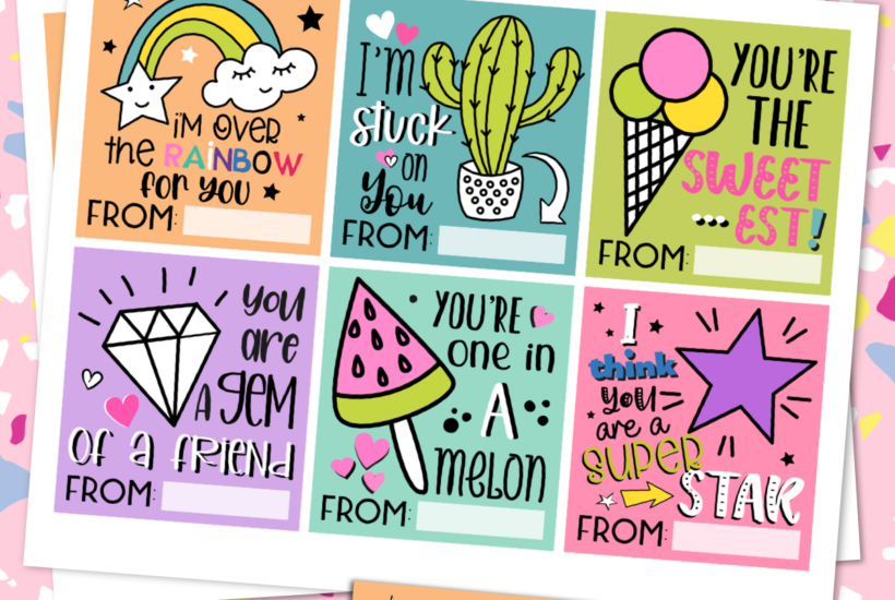 Free Printable Valentines with Six Clever Greetings