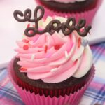 Chocolate Valentines Day Love Cupcake with White and Pink Frosting
