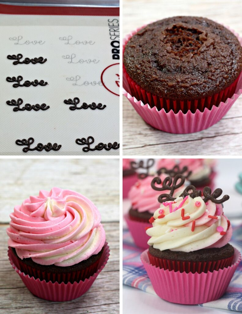 Valentine's Day Love Cupcakes - Step by Step Process Photos