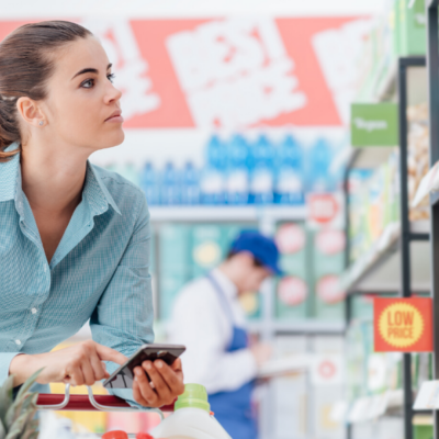 Girl Shopping and Using Food Allergy App