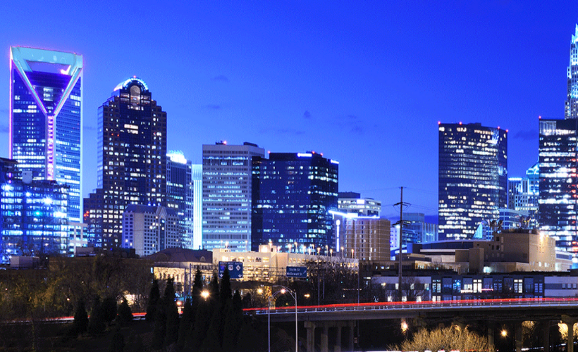 Turn it Teal - Uptown Charlotte, NC Skyline at Night